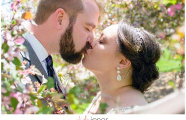 Bride and groom at Hudson Gardens wedding