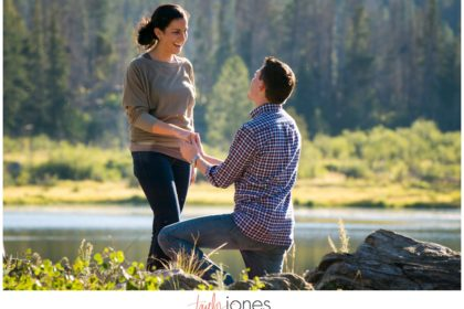 Rocky Mountain National Park engagement proposal at Sprague Lake