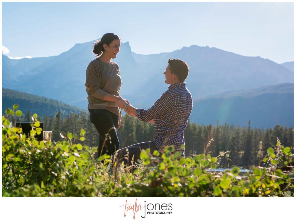 Rocky Mountain National Park engagement proposal at Sprague Lake