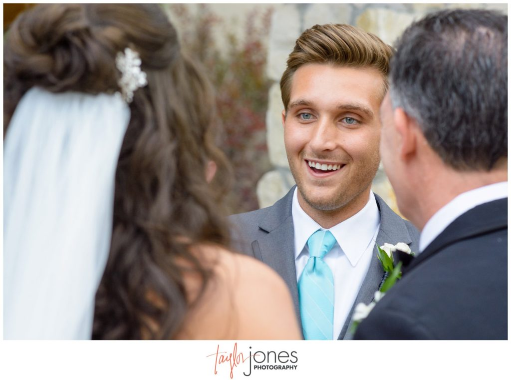Groom first look at Cielo at Castle Pines wedding Colorado photographer