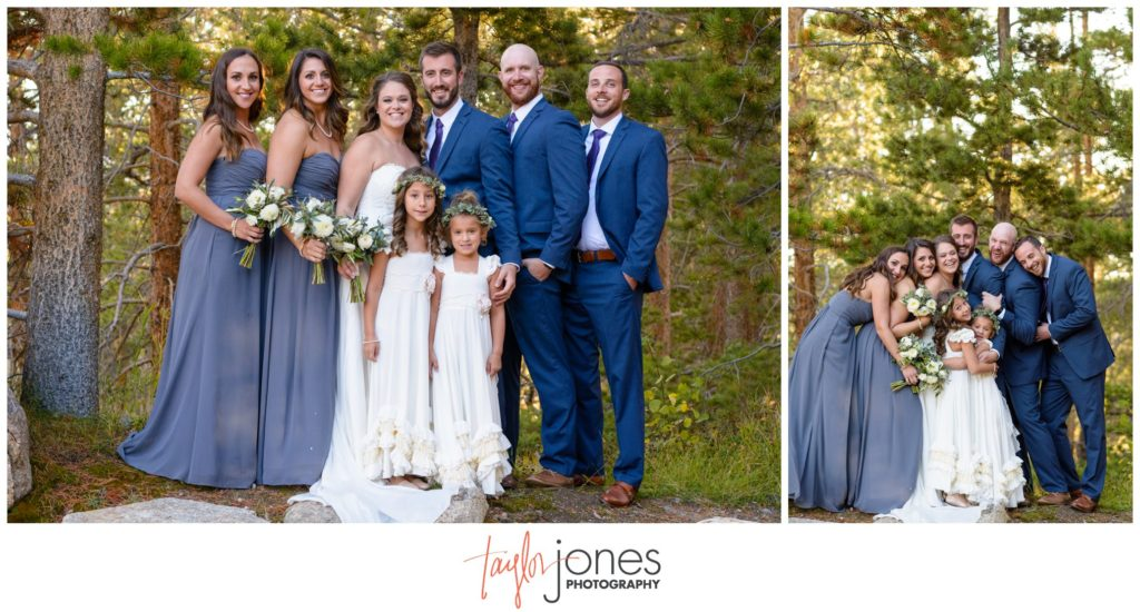 Bridal party at Keystone wedding in fall