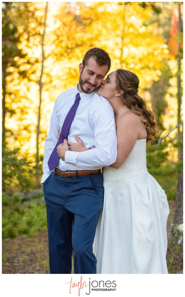 Couple at fall wedding in Keystone Dillon Colorado