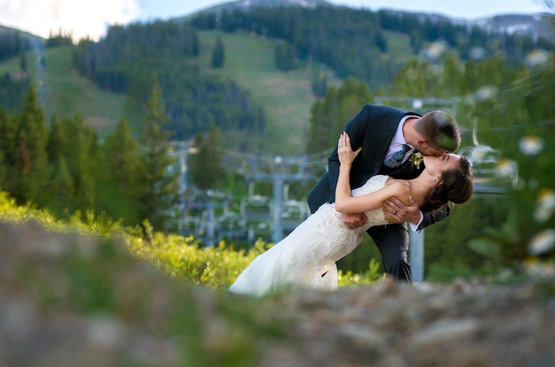 Couple at ski lift at Breckenridge Colorado wedding