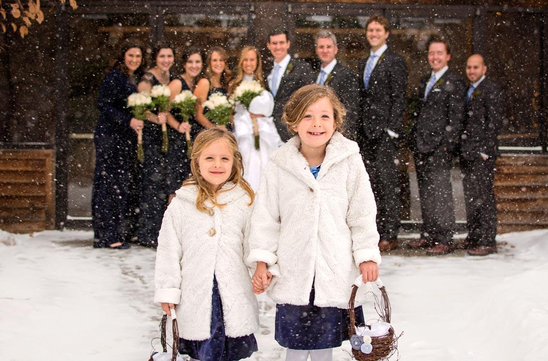 Bridal party at winter wedding in Colorado