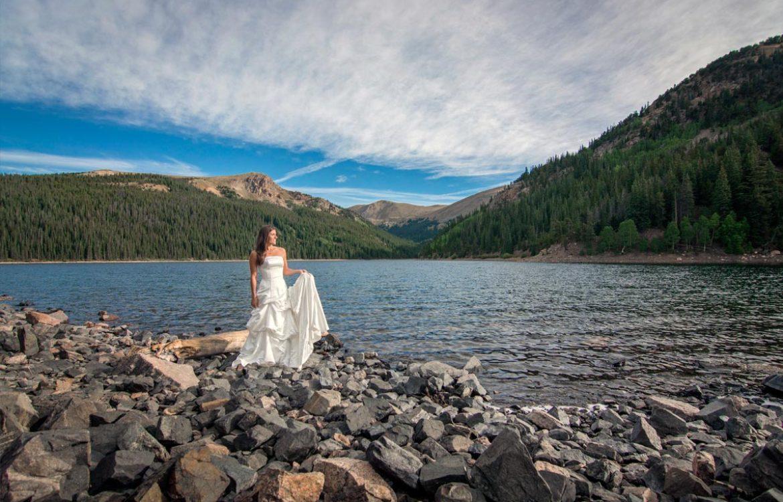 Bridal portraits at Jefferson Lake Colorado wedding