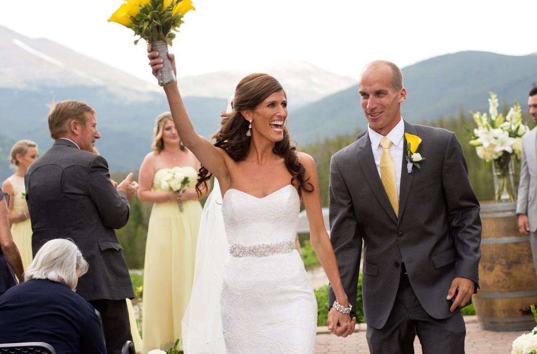 Couple at ceremony at Breckenridge Colorado Ten Mile Station wedding