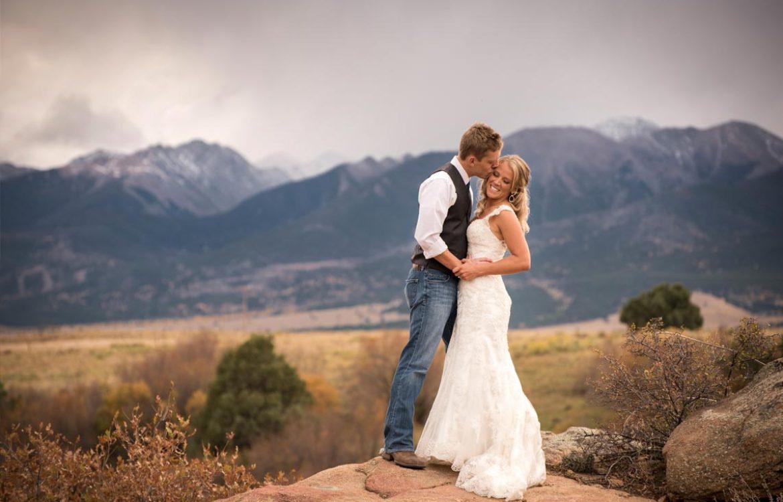Couple at mountains in Westcliffe Colorado wedding
