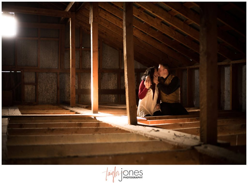 Salida Colorado engagement and wedding photographer in a barn