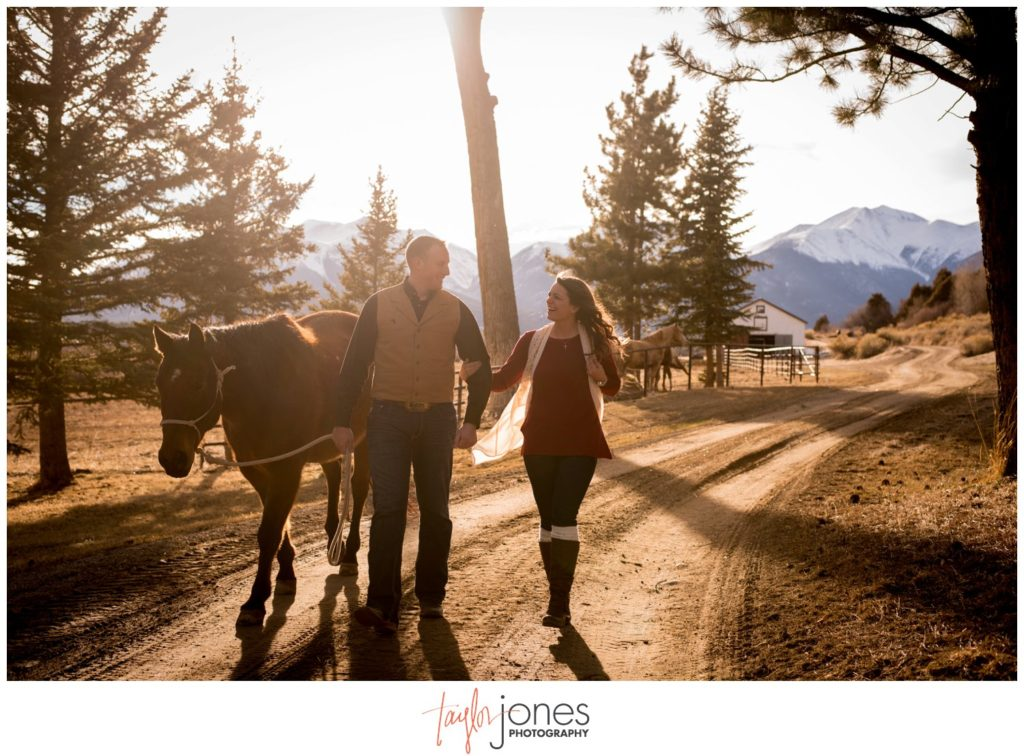 Salida Colorado engagement and wedding photographer with horses