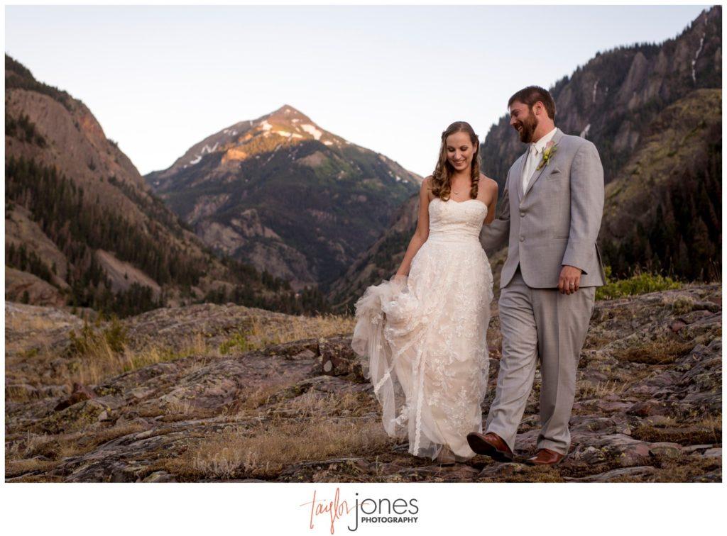 Bride and groom at Ouray Colorado wedding