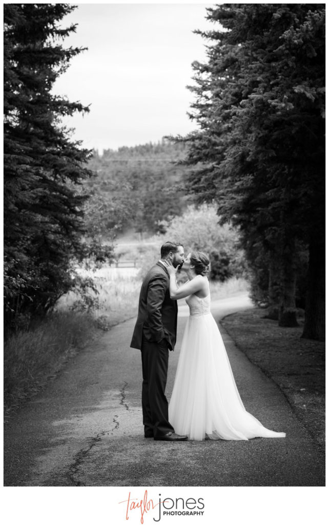 Bride and groom at first look at Deer Creek Valley Ranch wedding