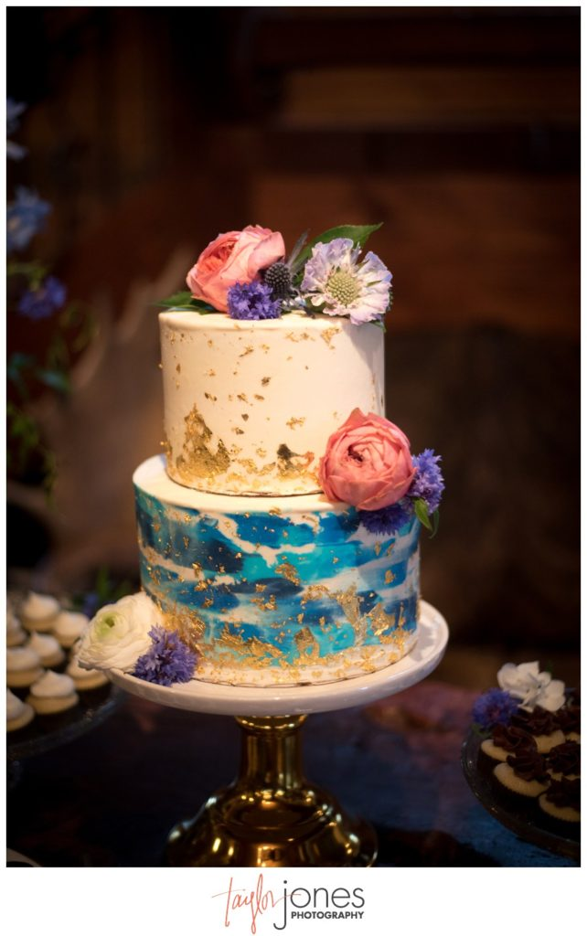 Gem cake by Fluffed and Frosted at Deer Creek Valley Ranch wedding