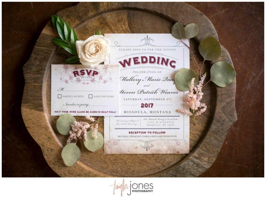 Missoula Montana wedding photographer at the Missoula Winery wedding invitation