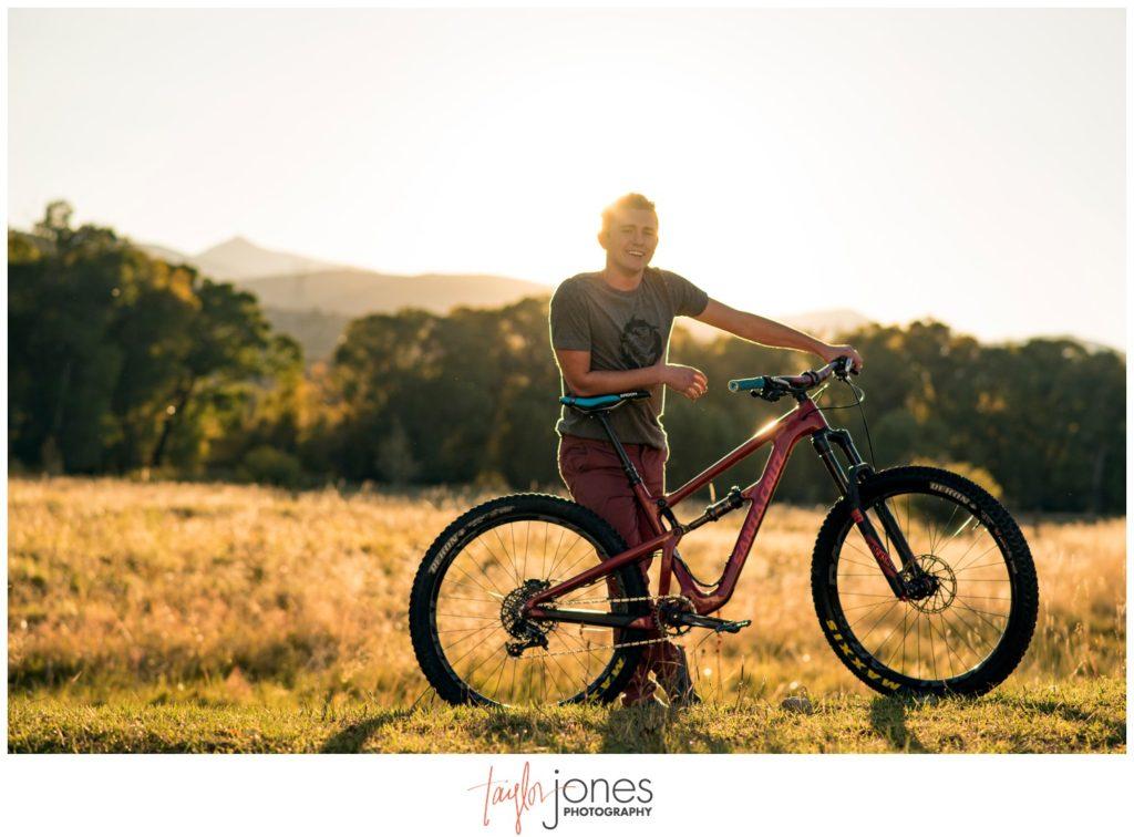 Salida Colorado senior portraits photography with mountain bike