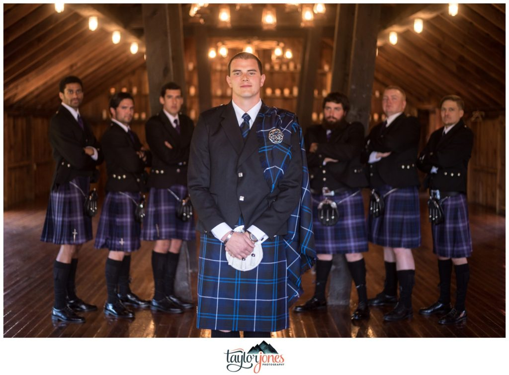 The Venue at Crooked Willow Farms wedding groomsmen in kilts