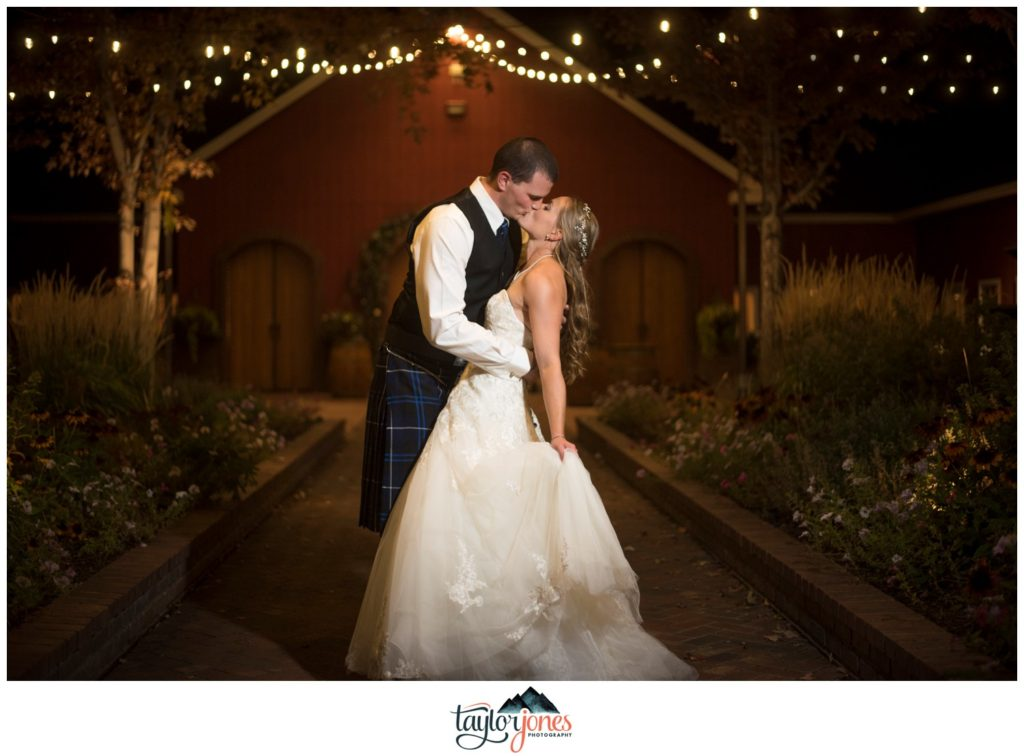 The Venue at Crooked Willow Farms bride and groom at night
