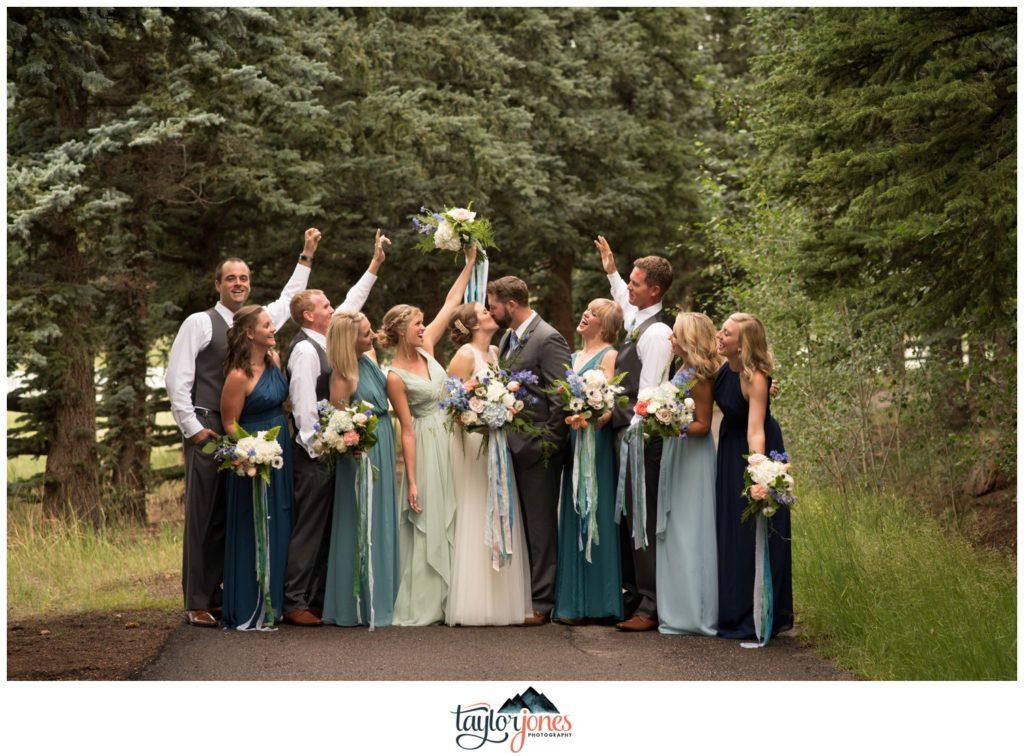 Bridal party at Deer Creek Valley Ranch wedding Ockerman