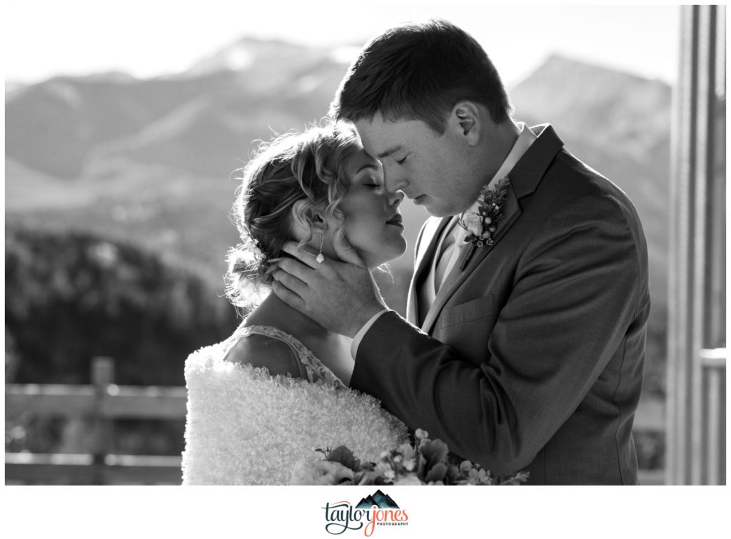 Mount Princeton Hot Springs winter wedding bride and groom first look