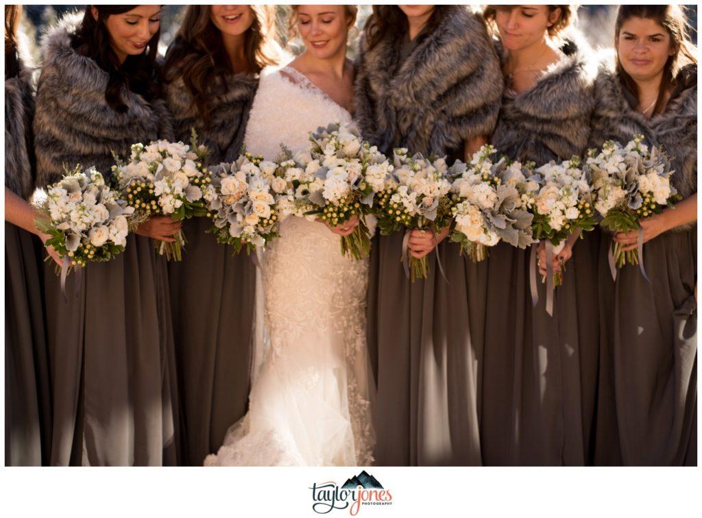 Mount Princeton Hot Springs winter wedding bridal party