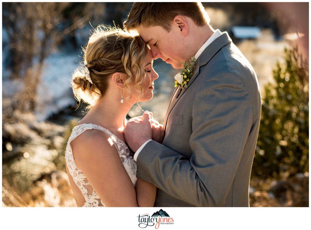 Mount Princeton Hot Springs winter wedding bride and groom portraits