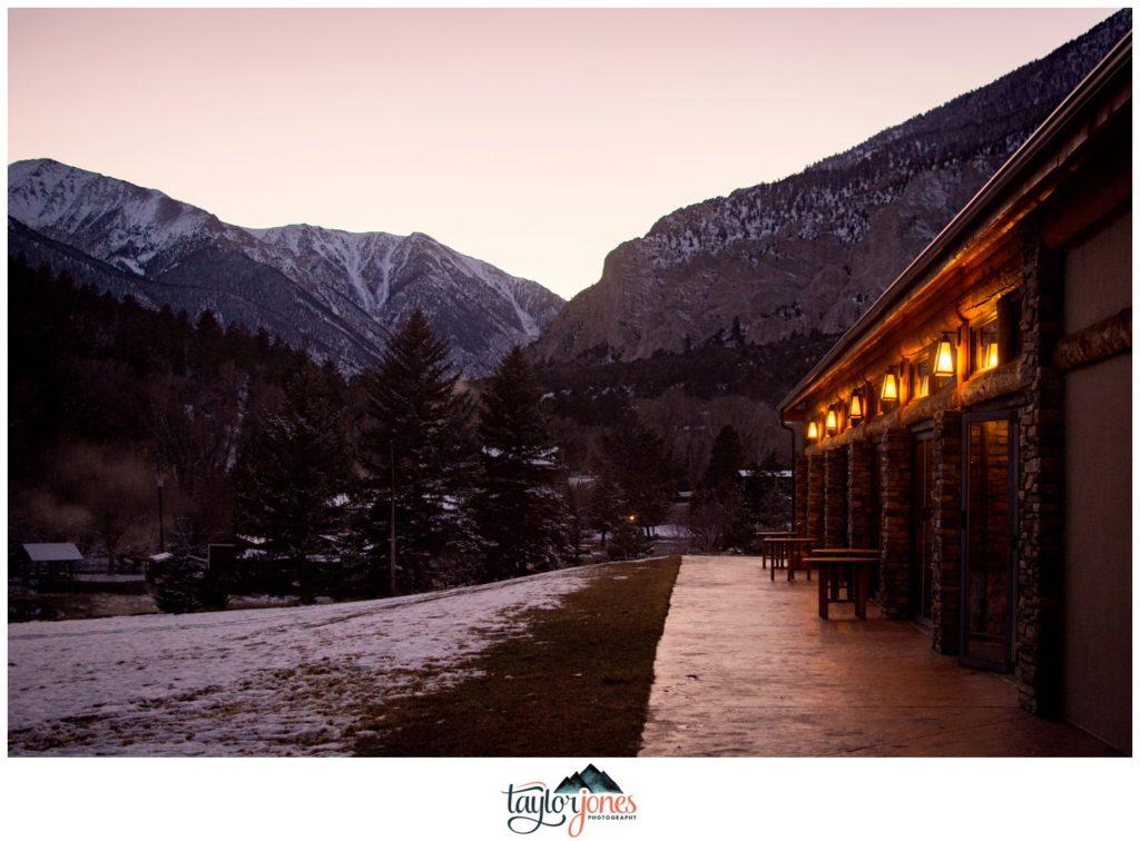 Mount Princeton Hot Springs winter wedding ceremony