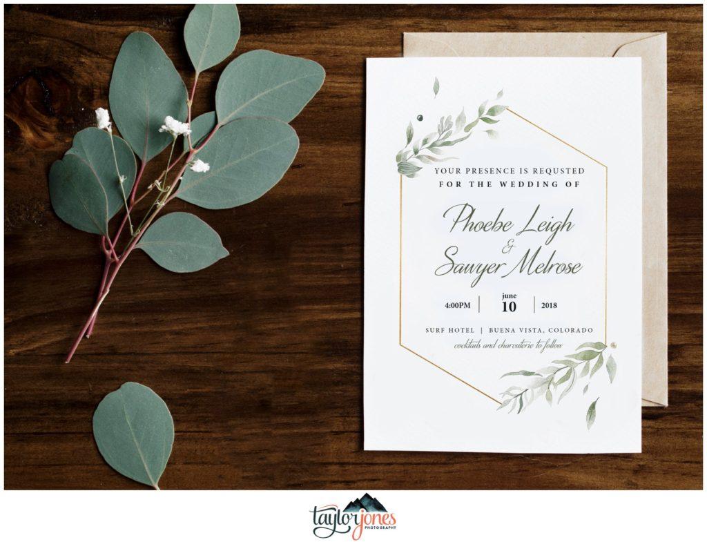 Surf Hotel Buena Vista Colorado wedding invitation details