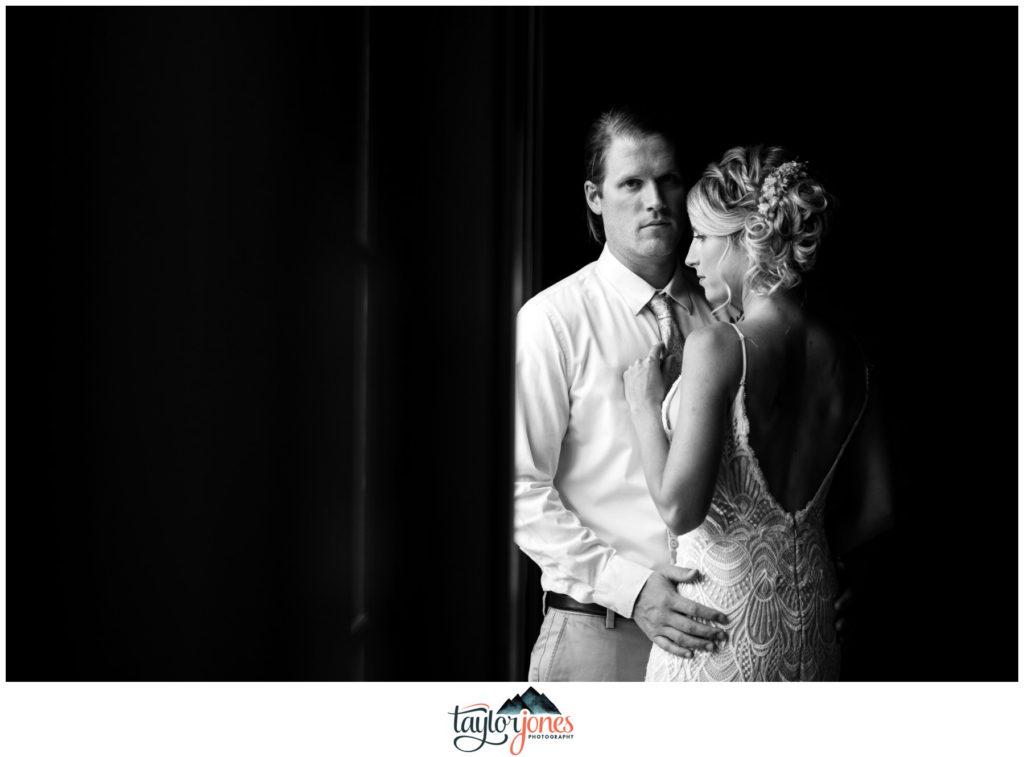Surf Hotel Buena Vista Colorado wedding bride and groom portraits in hallway