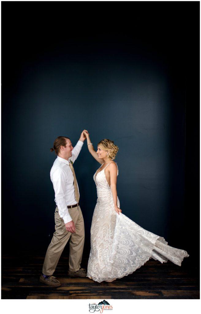 Wedding at the Surf Hotel Buena Vista Colorado bride and groom dancing