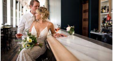 Wedding at the Surf Hotel Buena Vista Colorado bride and groom at Wesley and Rose bar