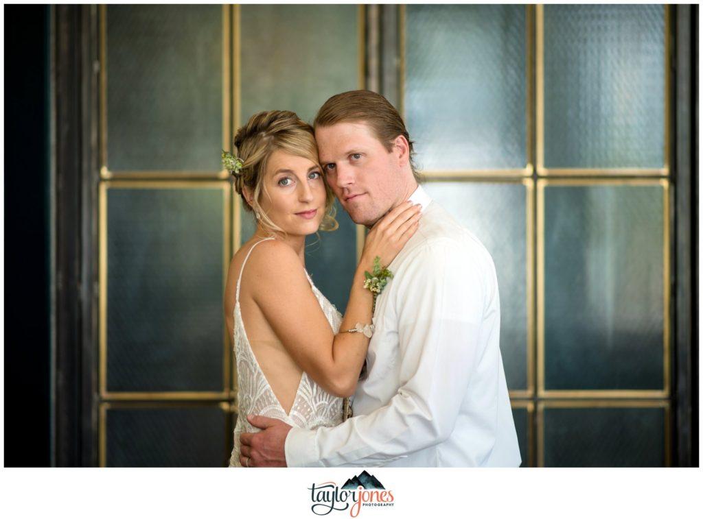 Wedding at the Surf Hotel Buena Vista Colorado bride and groom at bar portraits