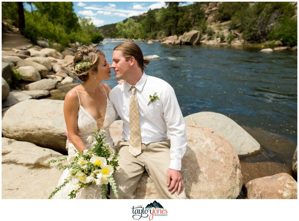 Wedding at the Surf Hotel Buena Vista Colorado bride and groom at the river