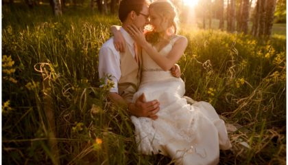 Evergreen Red Barn wedding couple portraits for Anna and Evan Johnson at sunset in aspens