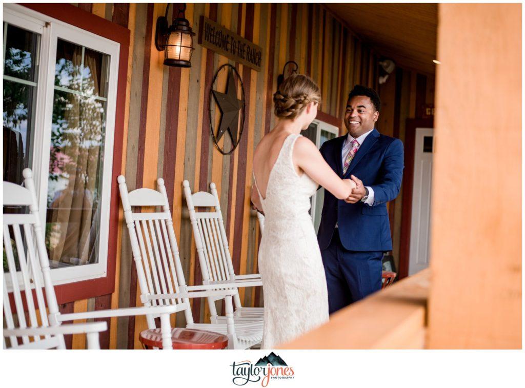 Guyton Ranch wedding bride and groom first look Jefferson Colorado