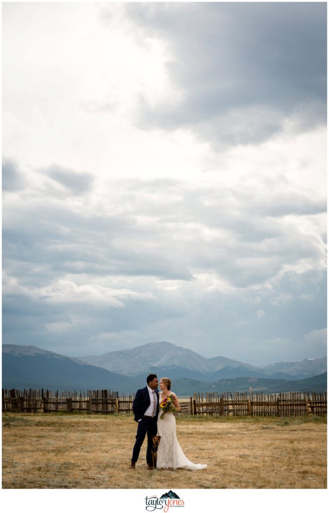 Guyton Ranch wedding bride and groom with dog in Jefferson Colorado