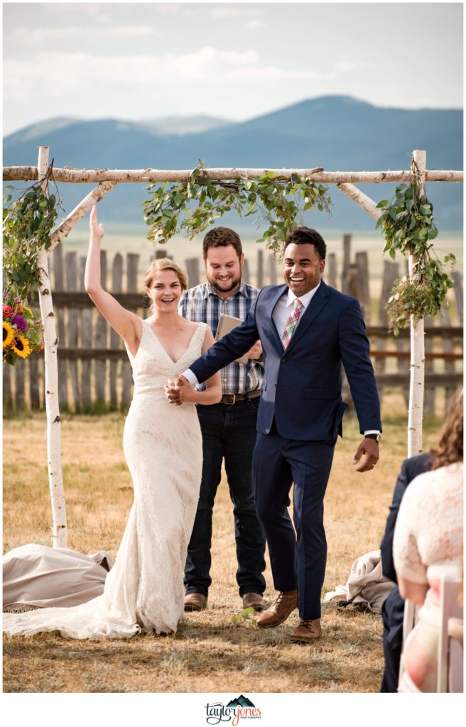 Guyton Ranch wedding ceremony of Maggie and Brian Leslie in Jefferson Colorado