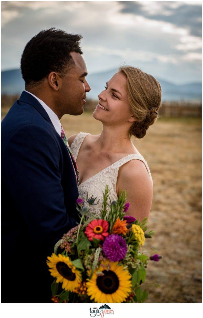 Bride and groom at Guyton Ranch wedding in Jefferson Colorado