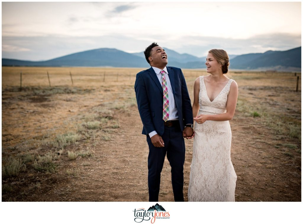 Bride and groom Maggie and Brian at Guyton Ranch wedding in Jefferson Colorado