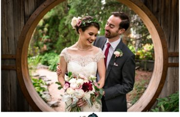 Denver Botanic Gardens wedding Luke and Annie bride and groom portraits at moon gate