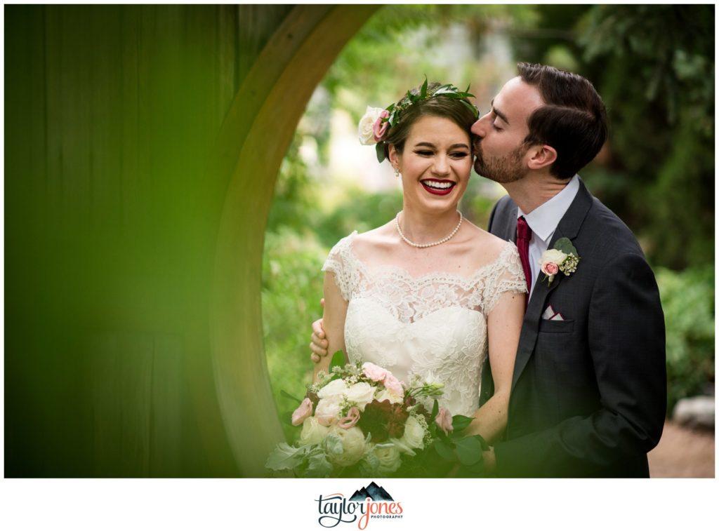 Denver Botanic Gardens wedding Luke and Annie bride and groom portraits at moon gate