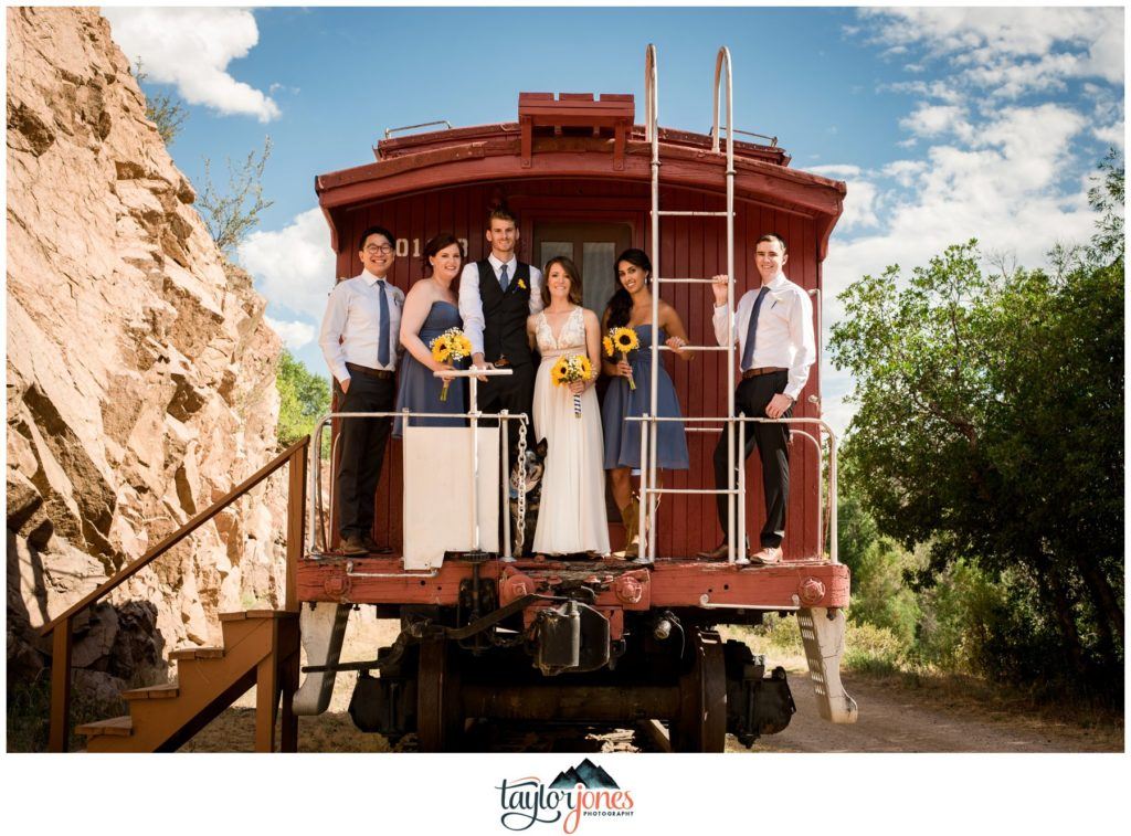Eden West Ranch Wedding bridal party with train