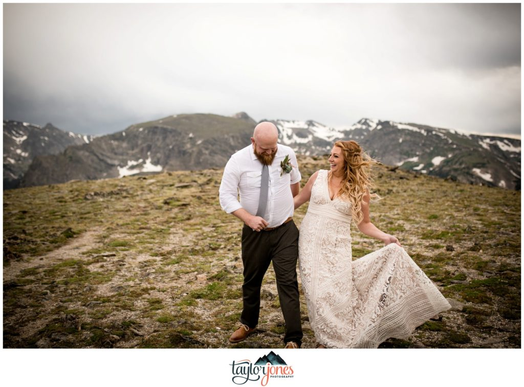Rocky Mountain National Park Elopement bride and groom on Trail Ridge Road