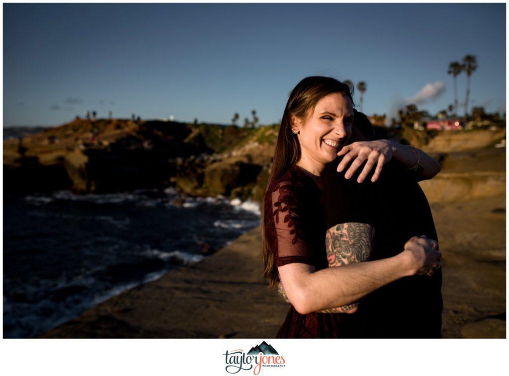 San Diego Sunset Cliffs engagement proposal Emily and Matt